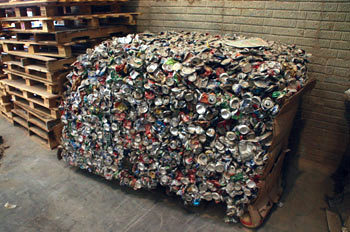 Cans baled for recycling